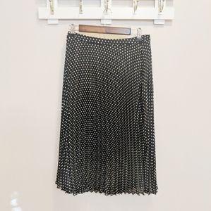 LOFT Pleated Polka Dot Midi Skirt Size 2
